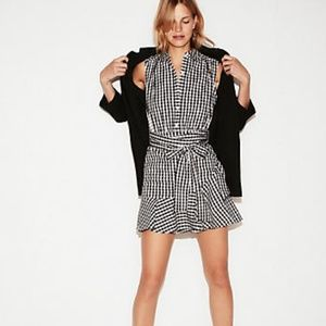 Express Gingham Tie Waist Ruffled Shirt Dress. NWT